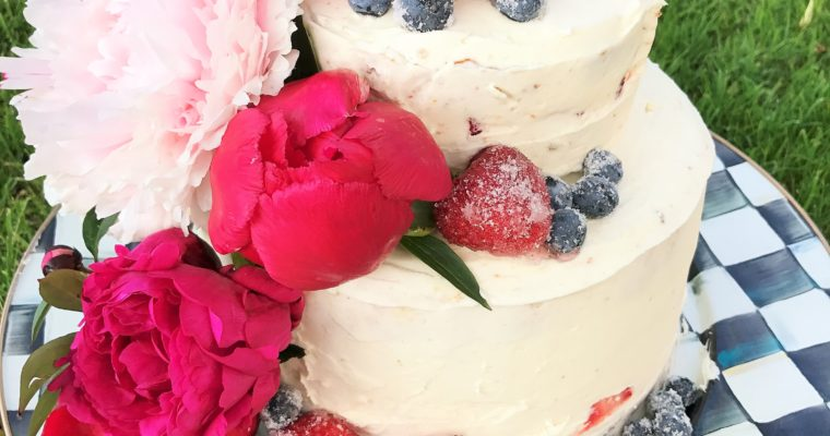Peony Cake with Fresh Strawberries and Vanilla Buttercream- Yummm!
