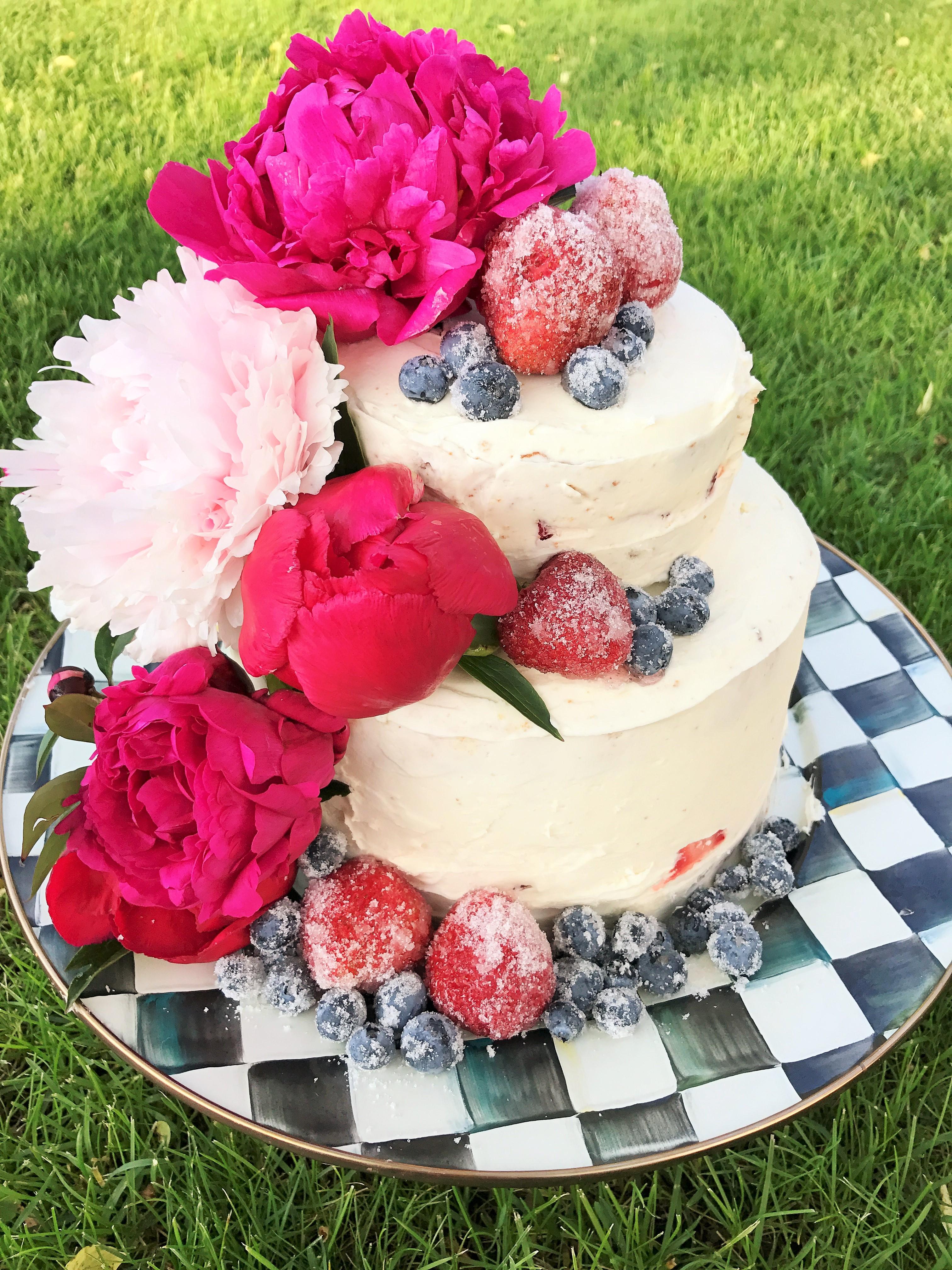 Peony Cake with Fresh Strawberries and Vanilla Buttercream- Yummm!