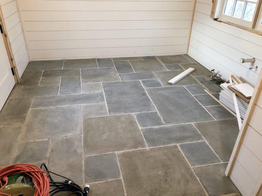 Potting shed restoration phase 2 shiplap and sinkholes elizabeth honestly if youre ever going to renovate a great room or a 3 seasons room you should consider bluestone tile for the floor dailygadgetfo Gallery